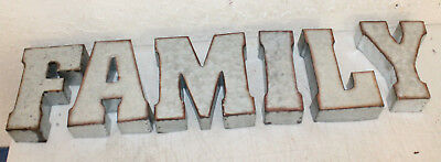 """7"""" Marque Galvanized Vintage Style Metal 3D 6 FAMILY Letters Sign Home Decor"""
