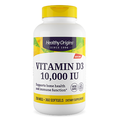 Healthy Origins Vitamin D3 D-3, 10000iu X 360 Softgel 10.000 Iu