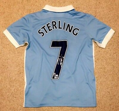 online store 79fe4 94ed5 RAHEEM STERLING SIGNED Man City 18/19 Shirt Manchester City ...