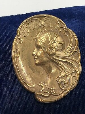 Antique Original Art Nouveau 1910-1920 Brooch Pin Gilded Brass Gorgeous Maiden!