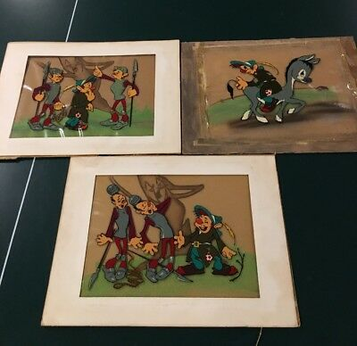 Rare 1940's Color Cel Set (3) Disney?  Hand Prepared Backgrounds