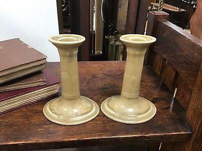 Pair Of Signed 1918 Rookwood Candlesticks Holders Arts & Crafts Art Pottery