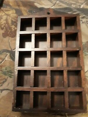 Wooden 20 thimble display case cabinet miniature wood wall holder VINTAGE