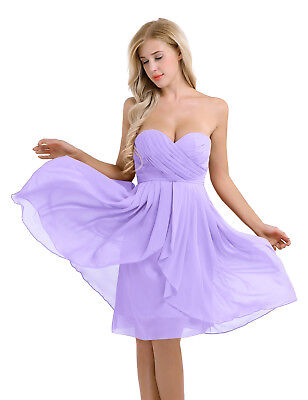 #14 Light Purple Women Short Dress Evening Party Bridesmaid Wedding Dance Gown