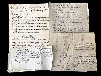 COLLECTION OF FOUR Old  Documents 1800s