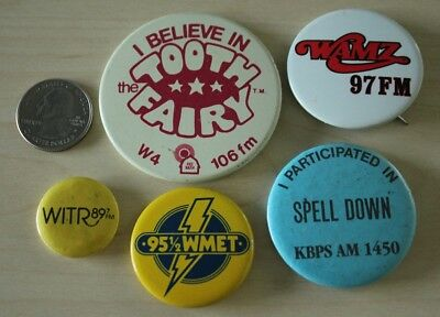Lot of 5 Radio Stations Pinbacks Buttons W4 WMET WAMZ KBPS #31913