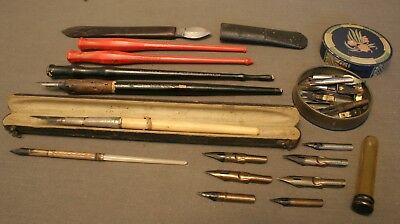 Nice Collection Of Vintage Dip Pens, Nibs And An Antique Ink Eraser / Scraper