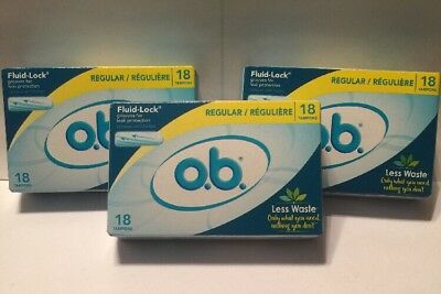 THREE (3) Boxes o.b. Regular Size Tampons 18 Count With Fluid Lock - 54 Total Ct