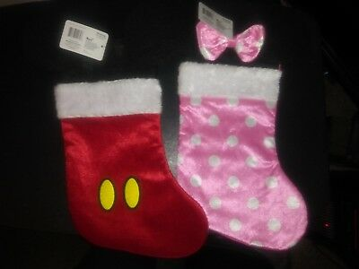 "Ears 90th 18"" Set Disney Minnie Mickey Mouse Red Pink Christmas Stocking NEW"