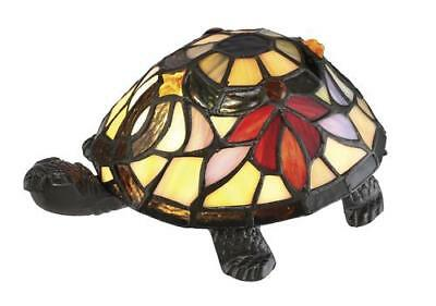 Tiffany Style Stained Art Glass Elegant Turtle Accent Table Lamp vintage NEW