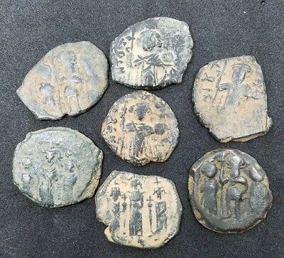 Lot of 7 Uncertain Byzantine Bronze Follis coins