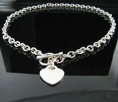"""18"""" Solid .925 Sterling Silver Toggle Heart Necklace"""