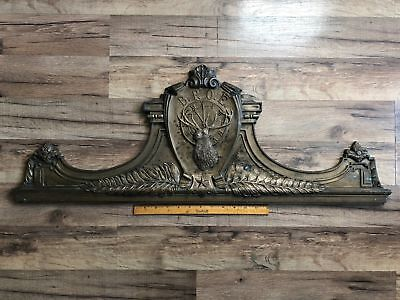 "Unique RARE Antique Bronze Heavy BPOE ELKS LODGE Door Pediment 33"" Architectural"