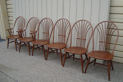 00001 Set 6 Solid Cherry BENT BROS Windsor Dining room Chairs