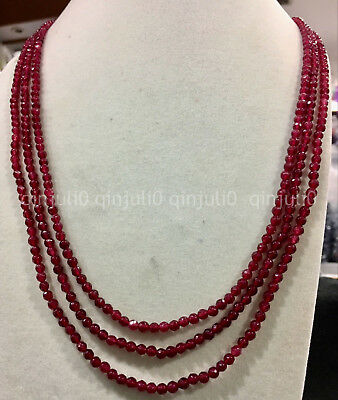 """3row 4MM faceted red ruby gemstone round beads necklace 18-20"""" 14K gold-plated"""