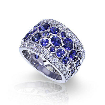 Gorgeous Spinner 925 Silver Ring Sapphire Wedding Bridal Jewelry Cluster Ring US