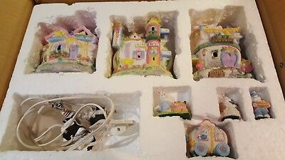 QVC Easter Village Hotel Grocery Bakery Taxi Bunny Family Vintage Collectable