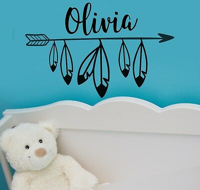 Custom listing Personalized Wall decal, Arrow monogram, Feathers, Your Name