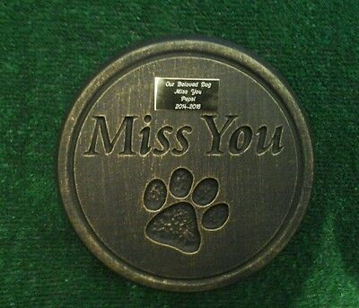 Dog or cat xl Large Pet Memorial/stone/grave marker/memorial with plaque 4 lines