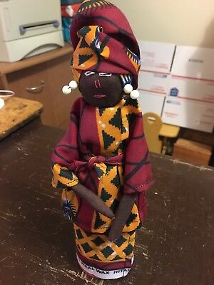 "Vintage Cloth African Woman 9.5"" Ethnic Doll Figurine Africa Collectible"
