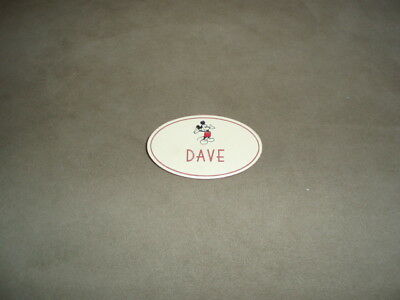 Vintage Walt Disney World Cast Member Name Tag Badge Pin Mickey Mouse Dave
