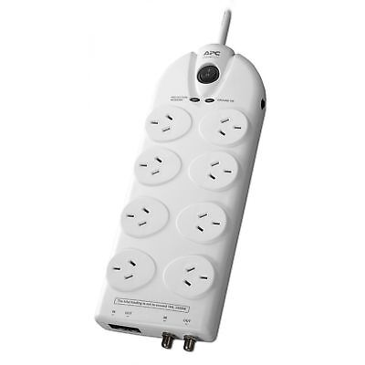 APC 8 Way Outlet Surge Protector Power Board Coax+Network Home Essential