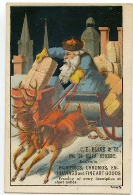 Victorian Trade Card c1880s Santa Clause Sleigh Chimney Packages C.E, Blake & Co