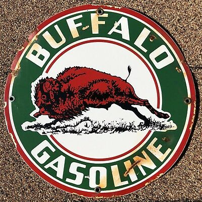 Buffalo Gas Oil Porcelain Sign Service Station Pump Plate Vintage
