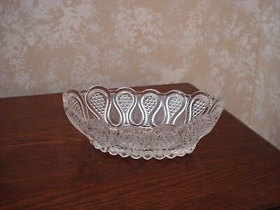 Vintage Antique Cut to Clear Glass Soap Candy Dish Scroll Design