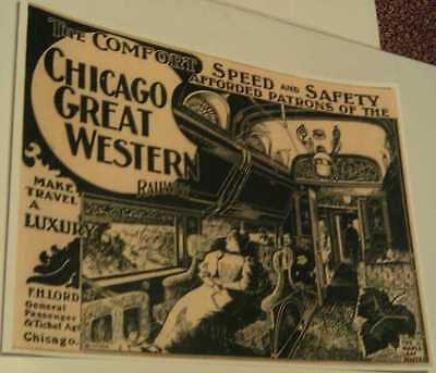 1896 Chicago Great Western Railway Railroad- Maple Leaf Route Speed Luxury Print