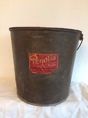 Penolia Peanut Butter Can New Haven CT Large Pail Advertising Label w Lid EUC