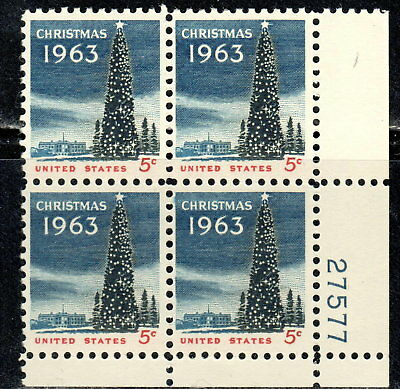 #1240 1963 5-cent Christmas Tree block of 4 MNH w/plate#