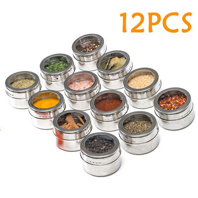 12Pcs Spice Tin Stainless Steel Storage Container Jar Clear Lid Set GIFT AU