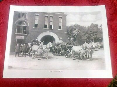 1909 St. Paul MN. Engine Fire Department Company No. 1 White Horses, Fire Wagons