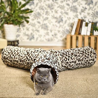 Leopard Print 3 Ways Pet Cat Play Tunnel Crinkly Fun Large Cat Toys Collapsible