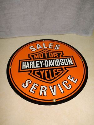 Harley Davidson Sales and Service Porcelain Sign