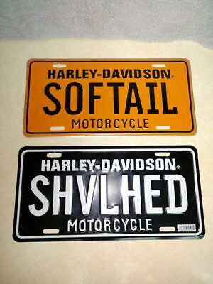 Harley Davidson tin license plate set of 2