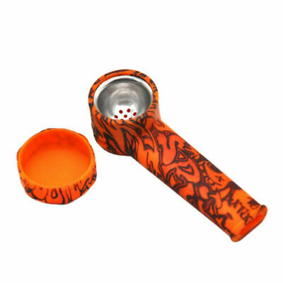 Silicone Tobacco Smoking Pipe w Lid Cap Bowl Herb Container Portable Concealable