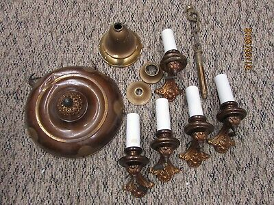 Antique Brushed Brass Ornate 5 Arm Ceiling Hanging Light Fixture / PARTS REPAIR