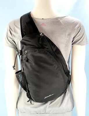 Eddie Bauer Black Sling Backpack Crossbody Bag Travel Org Purse Unisex M $35NWOT