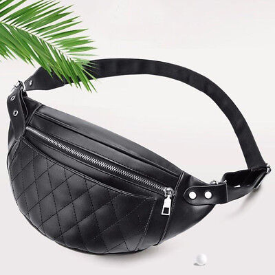 61351cee968 Women s PU Leather Fanny Pack Pouch Quilted Waist Belt Bum Bag Phone Wallet