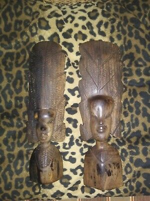 Native African Nude Woman / man Ethnic Tribal Statue Decor 11 inches tall