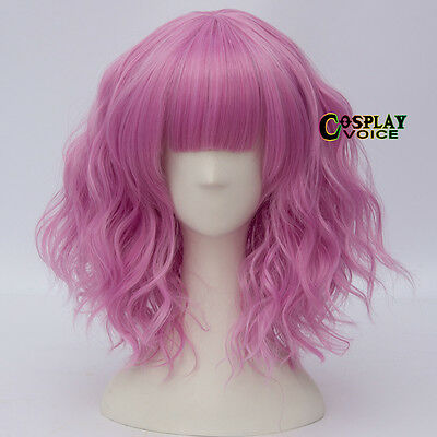 Light Magenta 35cm Curly Short Party Women Anime Heat Resistant Cosplay Wigs+Cap
