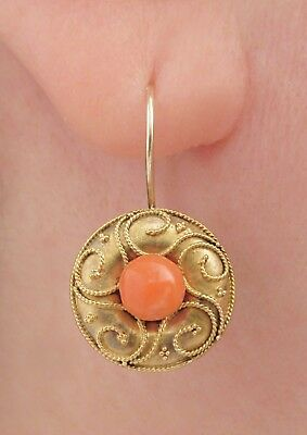 Fabulous Victorian Etruscan Style Coral Earrings, Solid 14k Gold! $1NR