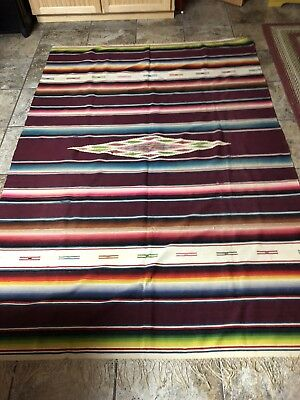 Vintage Large Native American Indian Hand Woven Rug Carpet 65 X 92