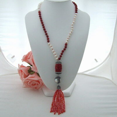 GE032802 24'' White Pearl Red Coral Necklace Resin Crystal Pendant