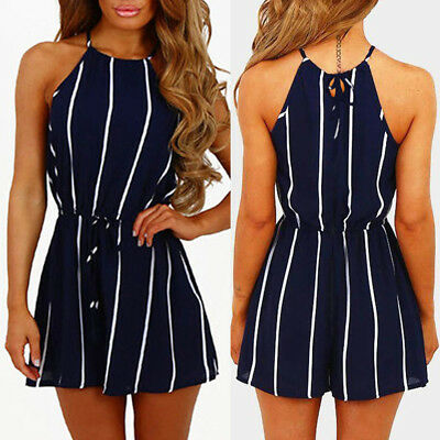 Women Stripe Printing Ladies Off-Shoulder Sleeveless Rompers Jumpsuit Playsuit L