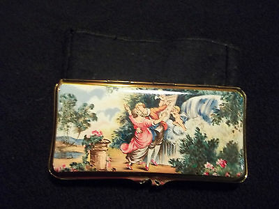 vintage stratton cigarette case enameled courting couple with cherub