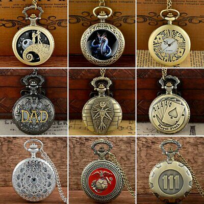 Retro Quartz Pocket Watch Antique Design Vintage Pendant Chain Necklace New Gift