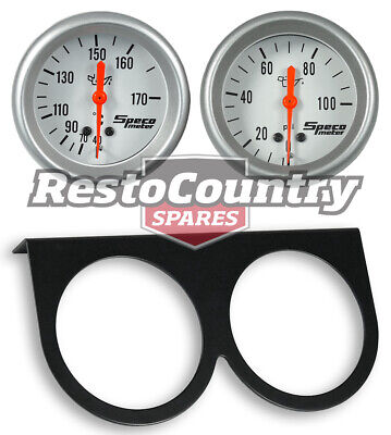 Speco 2 5/8 Gauge Kit Oil Pressure + Temperature + Holder Panel Silver Mechanica